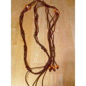 Vintage Dainty Macrame Brown Tie Belt w/ Fringe